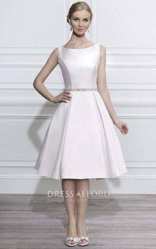 sheer Scoop-neck Sleeveless Satin A-line Wedding Dress With Embellished Waist