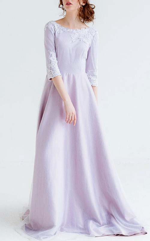 Bateau 3-4-sleeve long Dress With Appliques And Low-V Back