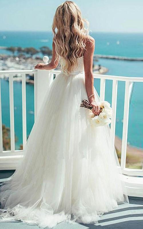Spaghetti Tulle  Sleeveless Wedding Dress