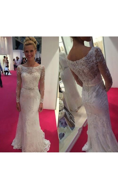 Long Crystal Belt Bateau-Neck Long-Sleeve Gown