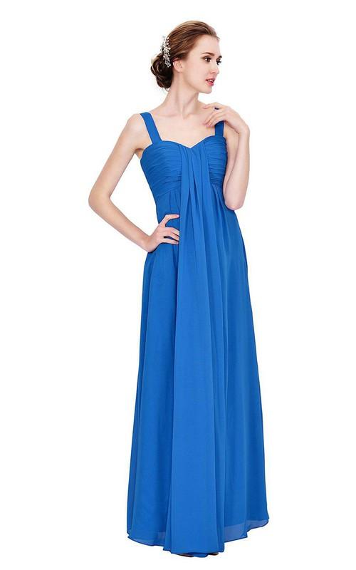 Chiffon Ruched Bodice High-Waist Sleeveless Gown