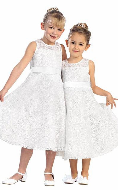 Tiered Satin 3-4-Length Embroidered Lace Flower Girl Dress
