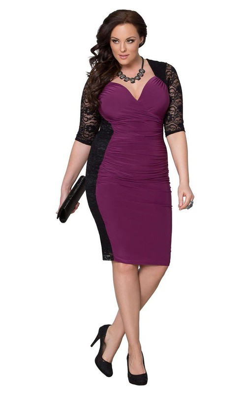 Lace Ruched Midi-Length Half-Sleeved Dress