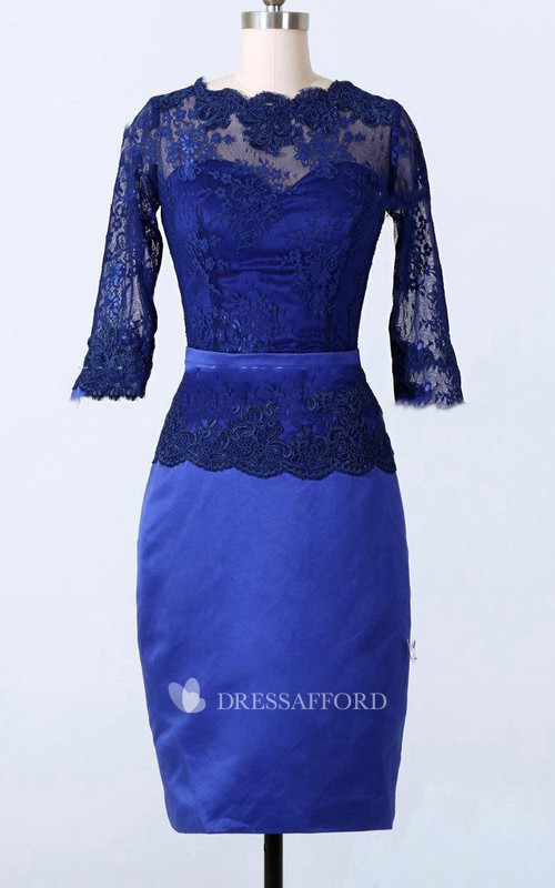 Long-Sleeve Satin Short-Midi Sheath Lace Dress
