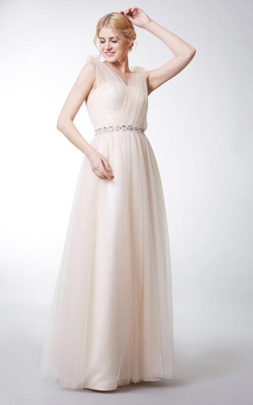 V-neck Sleeveless Tulle Floor-length Dress With Flower And Jeweled Waist