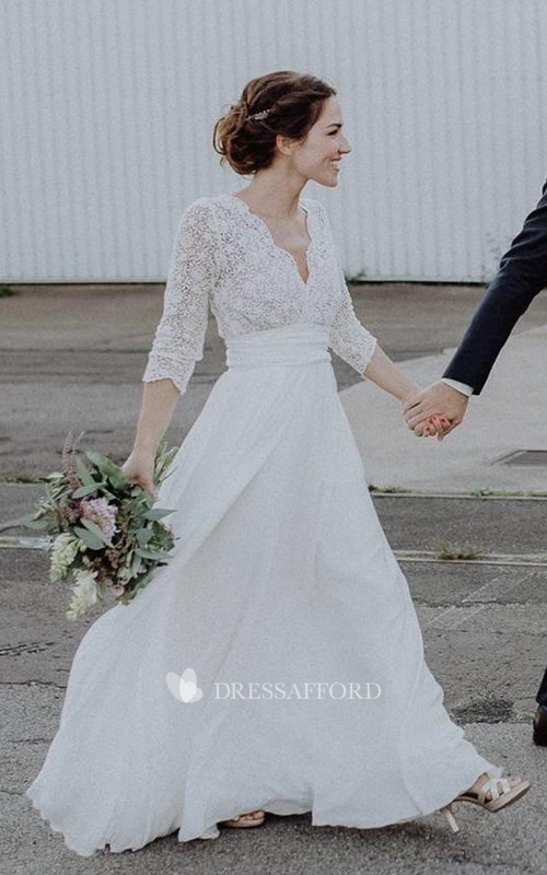 Ethereal Chiffon and Lace Scalloped Floor Length Wedding Dress