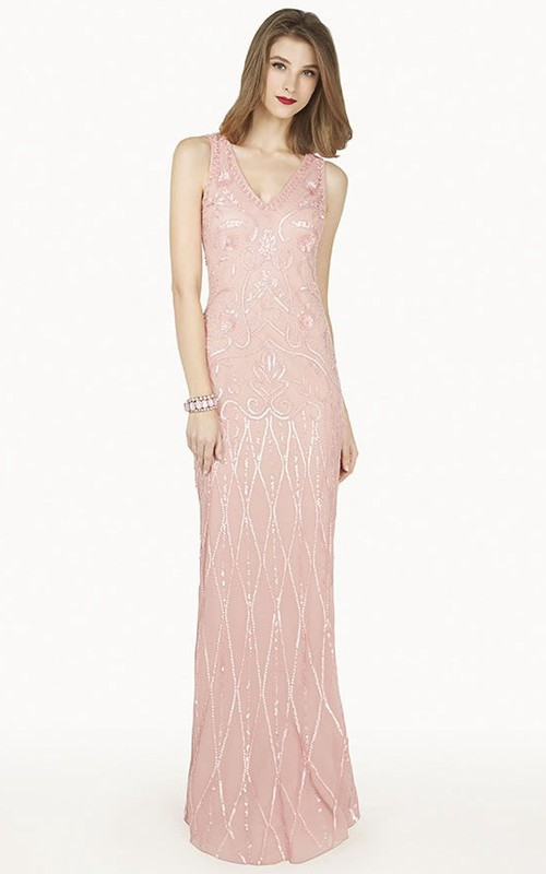 Sequined V-neck Sleeveless Sheath Dress With Illusion back