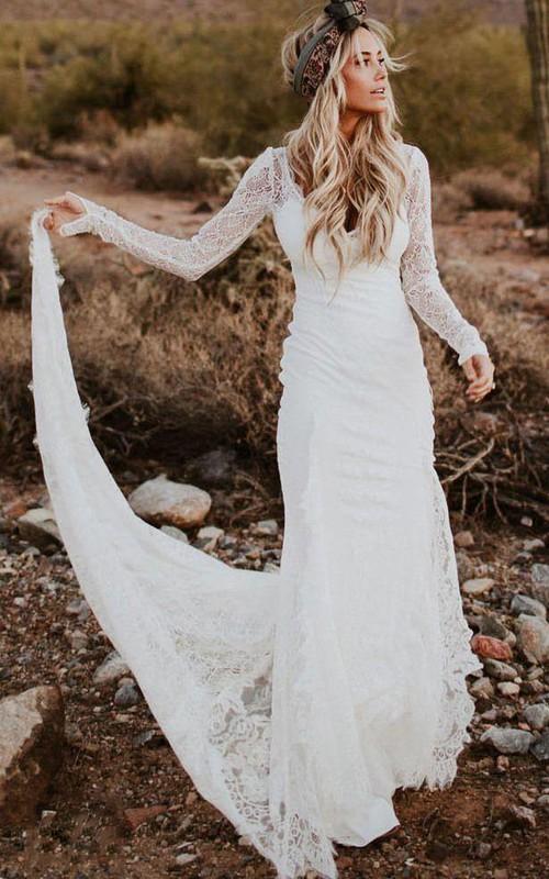 V-neck Satin Long Sleeve Chapel Train Deep-V Back Bodycon Wedding Dress
