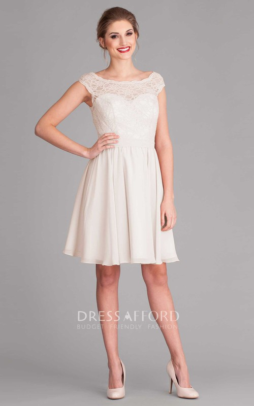 Bateau Cap-sleeve short Chiffon Wedding Dress With Lace